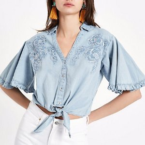 River IslandBlue denim floral embroidered tie front shirt - Crop Tops / Bralettes - Tops - women