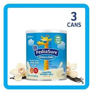 立减$5PediaSure 雅培小安素助成长营养乳饮,400克/罐*3