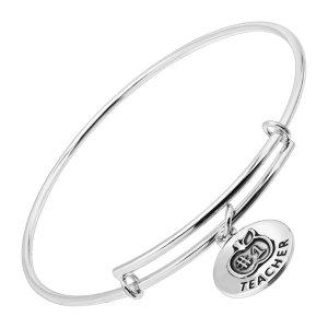 #1 Teacher Expandable Bangle Bracelet in Sterling Silver | #1 Teacher Expandable Bangle Bracelet | Jewelry.com