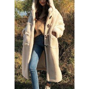 Falling In Lambswool Hooded Long Coat for Sale | Coats for Women | KOODING