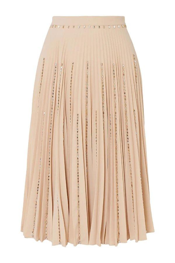 裸粉色百褶半裙