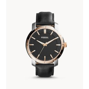 FossilLance Three-Hand Black Leather Watch