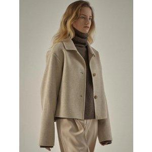 Cashmere cropped jacket_Oatmeal