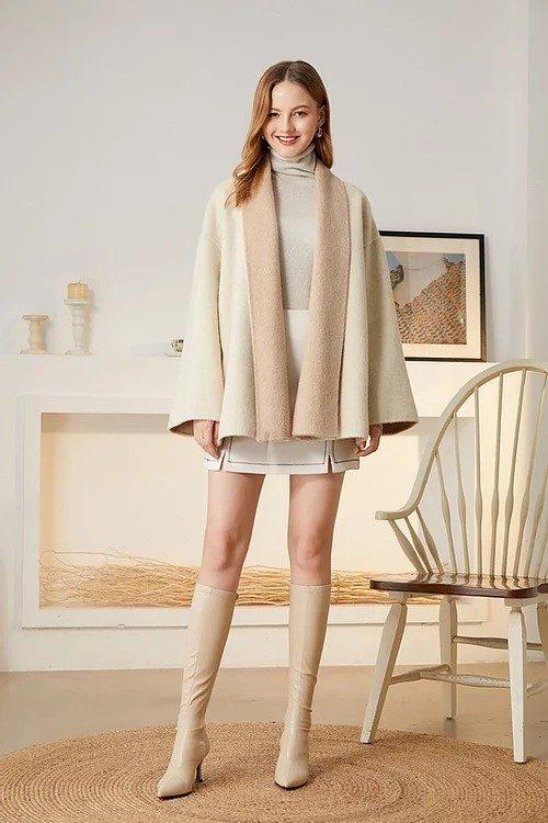 粉白拼色兔绒斗篷款大衣