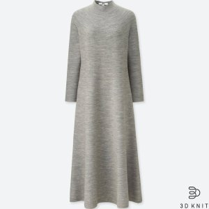 4cc4a40f641 Uniqlo WOMEN 3D EXTRA FINE MERINO RIBBED LONG-SLEEVE DRESS · UniqloWOMEN 3D  MERINO MOCK NECK LONG-SLEEVE DRESS