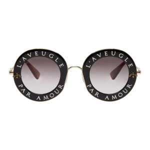 42adaeb48acba GucciBlack   Gold  L Aveugle Par Amour  Round Sunglasses