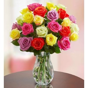 24支彩色玫瑰 带花瓶