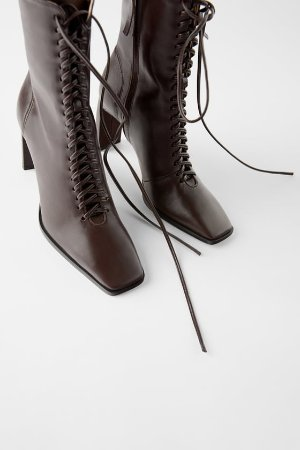 LACED LEATHER HIGH - HEEL ANKLE BOOTS-Brown boots-Boots-SHOES-WOMAN | ZARA United States