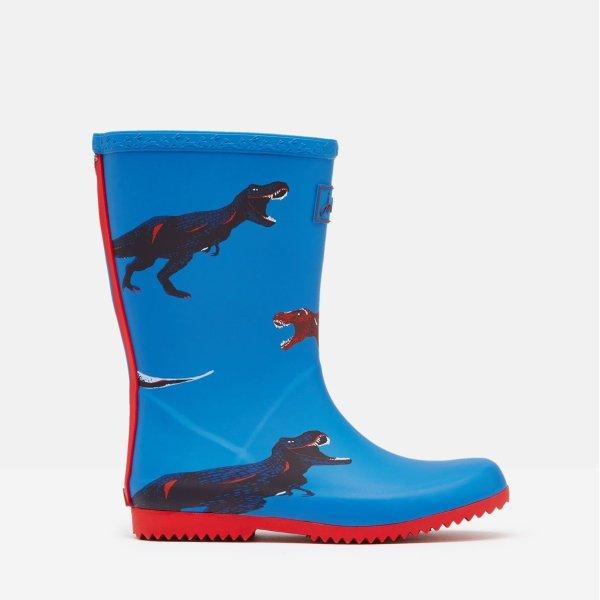儿童可卷边恐龙雨靴