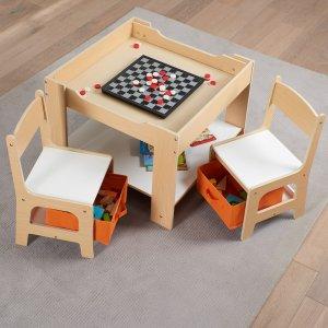 $59.98 厚木板很结实Senda 儿童木质桌椅3件套,黑白板桌面,带储藏收纳