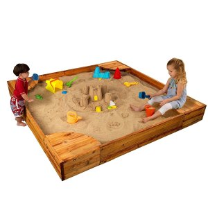 KidKraft Wooden Backyard Sandbox with Built-in Corner Seating and Mesh Cover