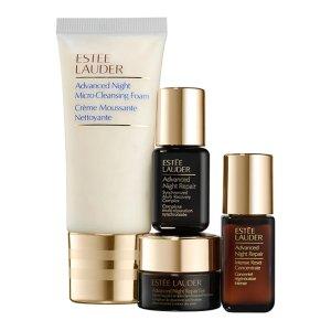 Estee Lauder小棕瓶精华+高能小棕瓶+眼霜+洁面小棕瓶4件套