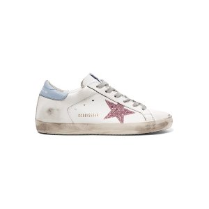 GOLDEN GOOSESuperstar glittered distressed leather sneakers