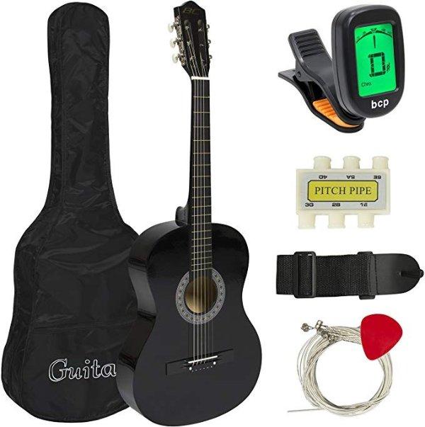 38in 初学者民谣吉他 (含包,背带,调谐器,拨片,弯管等)黑色