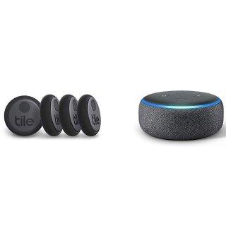 Tile Sticker 寻物贴 4个装 + 第3代Echo Dot 智能音箱