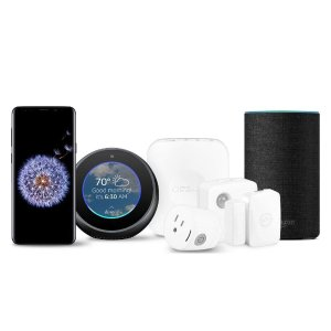 $839.99Samsung Galaxy S9+ Unlocked Smartphone - Midnight Black + Echo, Charcoal Black + Echo Spot, Black + Samsung Smart Home Monitoring Kit, White