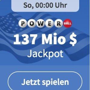 1.37亿美金大奖等你来 3注机会仅€3周日开奖!超高奖金!PowerBall 美版强力球德国也能玩啦