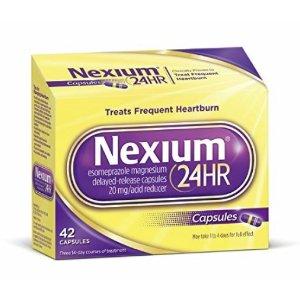 $22.5Nexium 24HR (20mg, 42 Count) Delayed Release Heartburn Relief Capsules, Esomeprazole Magnesium Acid Reducer