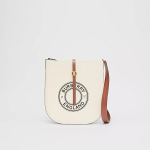 BurberryLogo Graphic Cotton Canvas and Leather Anne Bag