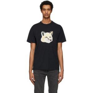 Maison Kitsune黑色狐狸头T恤