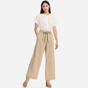 Uniqlo棉麻系带长裤 多色可穿