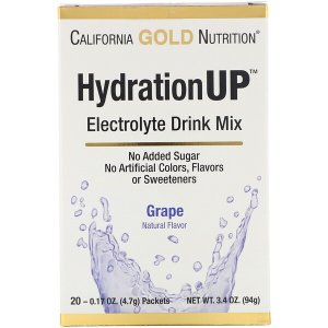 California Gold NutritionHydrationUP, Electrolyte Drink Mix, Grape, 20 Packets, 0.17 oz (4.7 g) Each