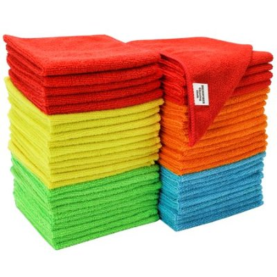 S&T Bulk Microfiber Kitchen, House, & Car Cleaning Cloths - 50 Pack