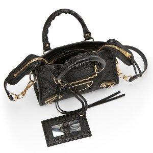 $879BALENCIAGA Black Nano Metallic Edge City Bag