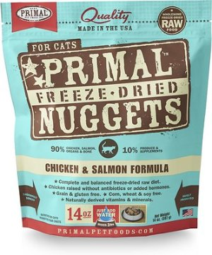 Primal Chicken & Salmon Formula Nuggets Grain-Free Raw Freeze-Dried Cat Food, 14-oz bag - Chewy.com