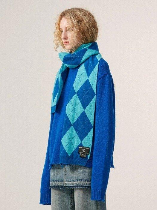 蓝色菱格围巾