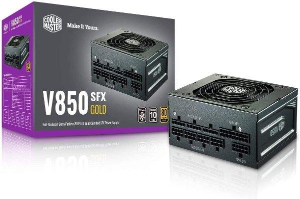 Master V850 SFX Gold Full Modular, 850W, 80+ Gold Efficiency, ATX Bracket Included, Quiet FDB Fan, Semi-fanless Operation, SFX Form Factor, 10 Year Warranty