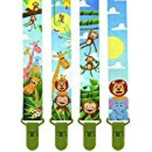Amazon.com : Premium Pacifier Clips by KiddosArt. Set Of 4, 2-Sided Of JUNGLE THEME Art, Stunningly Designed Pacifier Holder, Pacifier Leash, Baby Pacifier Clips for Girls and Boys. : Baby