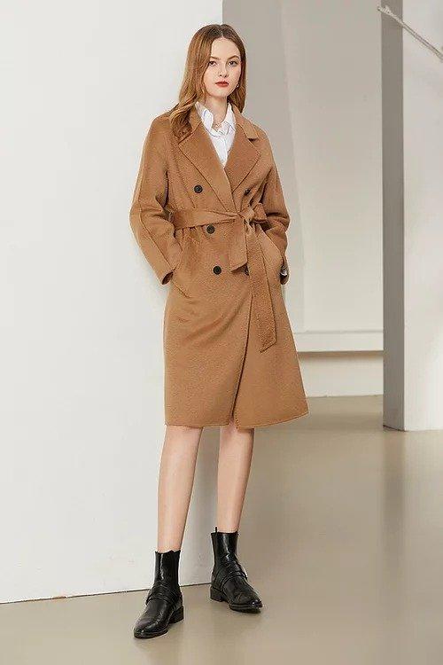 3.驼色经典双排扣水波纹双面羊毛大衣