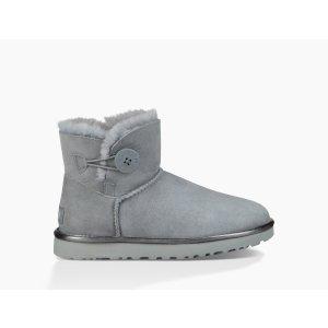 UGG Australia灰色侧纽扣雪地靴