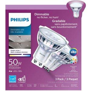 $7.97(Walmart $16.44)Philips 飞利浦 468124 Led 50瓦等效 GU10 节能射灯3件套