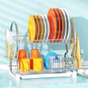 史低价:iSPECLE 双层不锈钢碗碟沥水架