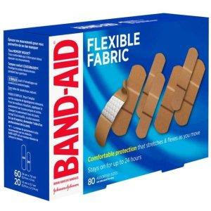 $5.5 80贴降价:Band-Aid 弹力透气创口贴80个装 家庭急救必备