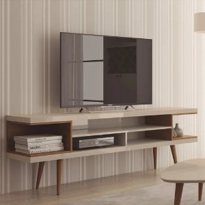 Carson CarringtonNynashamn 70.47-inch TV Stand with Splayed Wooden Legs and 4 Shelves