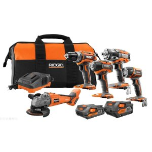 RidgidRIDGID 18-Volt Lithium-Ion Brushless Cordless 5-Tool Combo Kit with (1) 4.0 Ah Battery, (1) 2.0 Ah Battery, Charger, and Bag