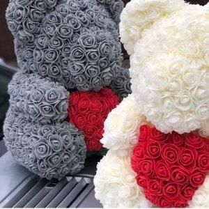 低至6.8折 25cm/40cm两种尺寸可选情人节好礼:网红手工玫瑰花Teddy Bear超好价 多色可选