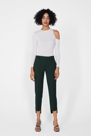 PANTS WITH ASYMMETRIC HEM - Skinny-PANTS-WOMAN | ZARA United States