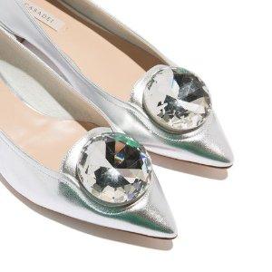Casadei银色平底鞋
