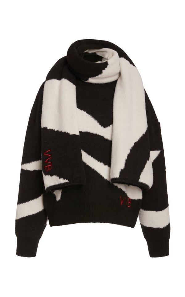 黑白围巾毛衣