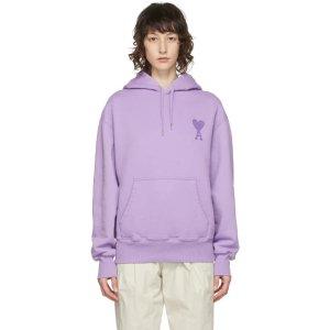 Ami Alexandre Mattiussi爱心紫色帽衫