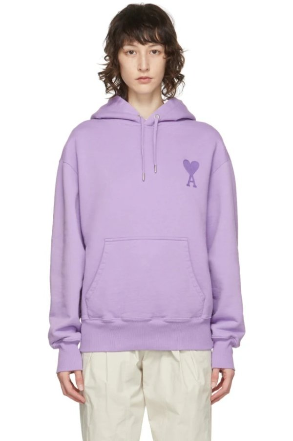 爱心紫色帽衫