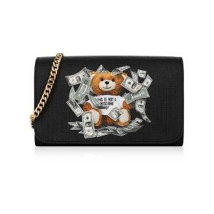MoschinoDollar Teddy Bear Black Wallet Clutch