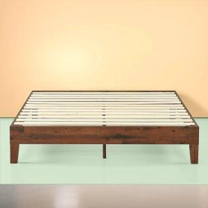 Marissa Deluxe Wooden Platform Bed Frame - Antique Espresso
