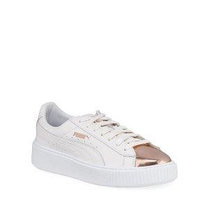 PumaBasket Metallic Low-Top Platform Sneakers