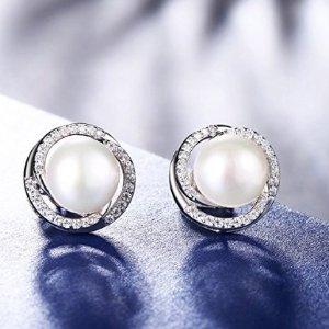 $11.99 (原价$28.99)白菜价:J.Rosée 淡水珍珠锆钻纯银耳钉特卖