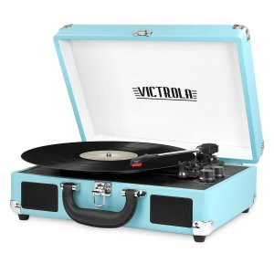 Portable Victrola Suitcase Record Player with Bluetooth and 3 Speed Turntable, Turquoise